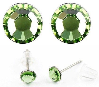Cercei LITTLE SHINE green-peridot cu cristale swarovski