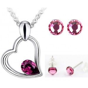 Set EXPENSIVE HEART SHINE purple cu cristale swarovski-big