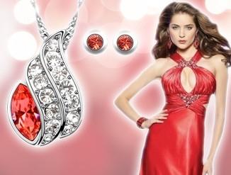 Set bijuterii Lucky  red cu cristale swarovski