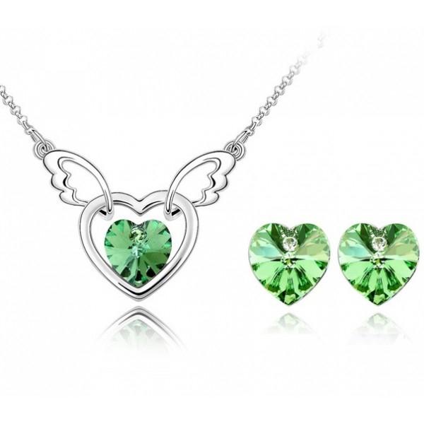 Pachet promo: Set FANTASY HEART verde- green peridot cu cristale swarovski + BONUS Cercei Charisma red cu cristale