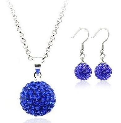 Set bijuteriii SHAMBALA lung blue-capri cu cristale