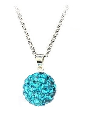 Pandant SHAMBALA BLUE TOPAZ turquoise cu lantic placat cu aur alb cu cristale