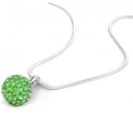 Pandant SHAMBALA VERDE green cu lantic placat cu argint cu cristale