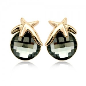 Cercei STAR RIGANT Black Diamond cu reflexii  cu cristale Swarovski placati cu aur 18k varianta gold