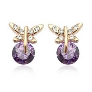 Cercei SWEET BUTTERFLY RIGANT cu cristale Swarovski violet  placati cu aur 18k  varianta gold