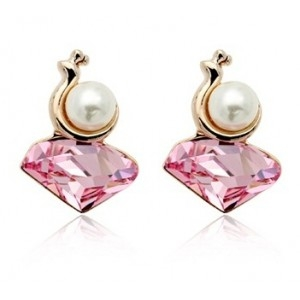 Cercei MELC rose cu cristale Swarovski si perla placati cu aur 18k varianta gold