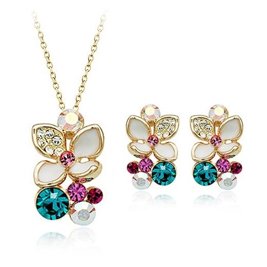 Set bijuterii cu cristale COLOUR FLOWER placat cu aur galben de 18K