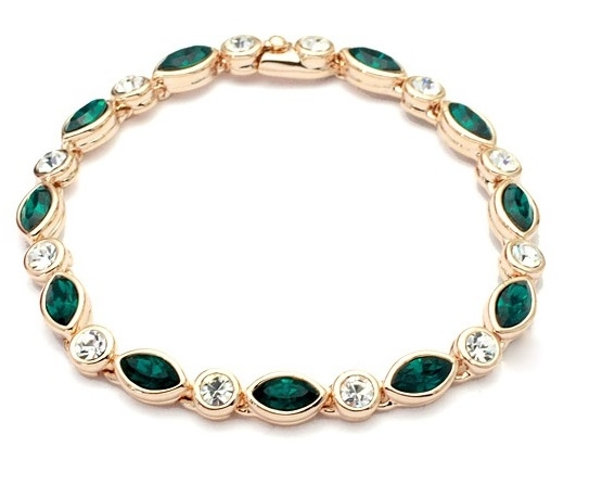 Bratara Princess dark green cu cristale placata cu aur 18K