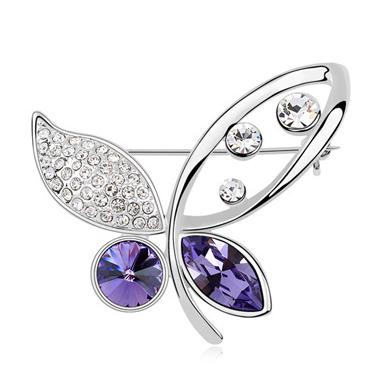 Brosa 1035 Elegant Butterfly violet cu cristale Swarovski si placata cu aur 18K  garantie 6 luni