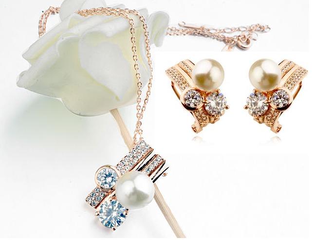Set Sweet Pearl  cu elemente Swarovski si perle, garantie 6 luni