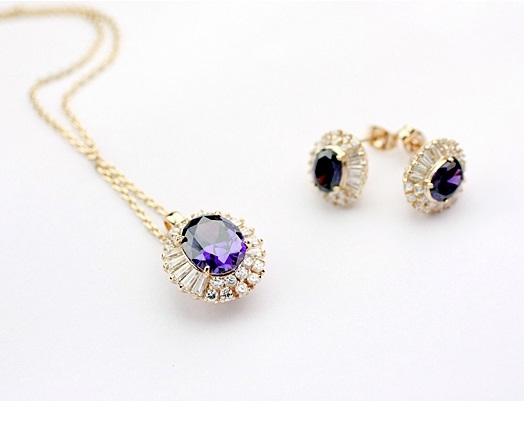 Set de bijuterii cu cristale REGAL violet placat cu aur 18k