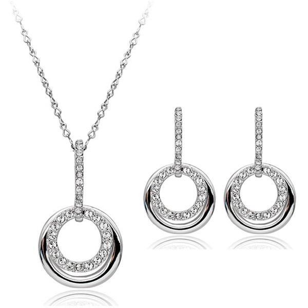Set de bijuterii cu cristale SWEET LIFE white placat cu aur 18k, garantie 6 luni