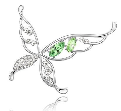 Brosa Butterfly x  green cu elemente Swarovski si placata cu aur 18K garantie 6 luni