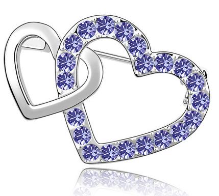Brosa Double Heart  violet cu elemente Swarovski si placata cu aur 18K garantie 6 luni