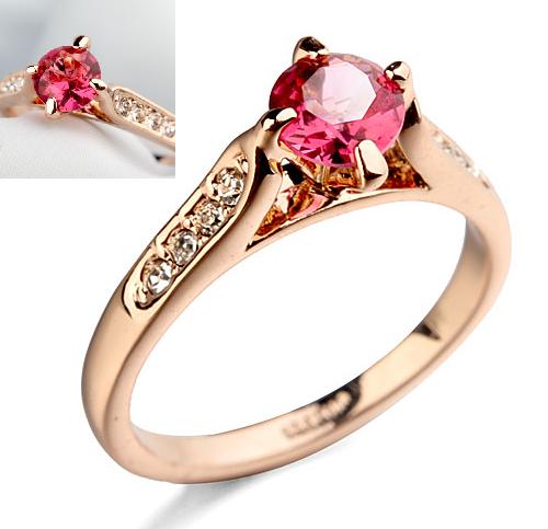 Inel cu cristale Regal rose placat cu aur 18k - diametru 18 cm