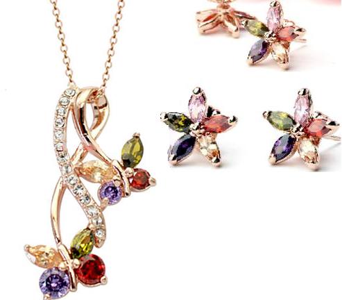 Set de bijuterii cu cristale Amiral gold multicolor din 2 piese, placat cu aur 18k si garantie 6 luni