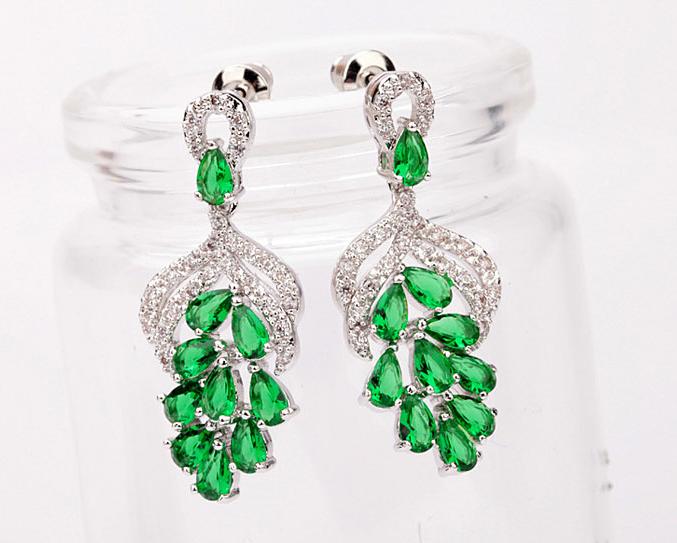 Cercei  Candelabru GREEN cu cristale Swarovski placati cu aur 18k