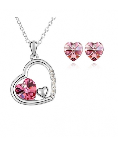 Set Beautifull Heart Rose cu cristale swarovski