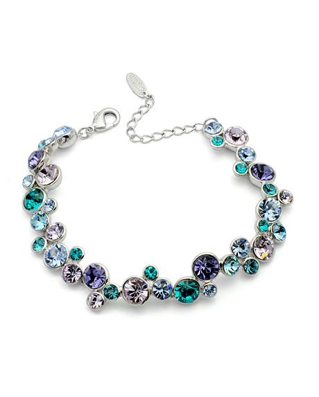 Bratara Blue Around cu cristale multicolore blue-violet-turquoise, placata cu aur alb si garantie 6 luni