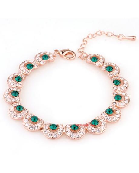 Bratara Italina Green Emerald cu cristale, placata cu aur 18K si garantie 6 luni in cutie de bijuterii din piele ecologica
