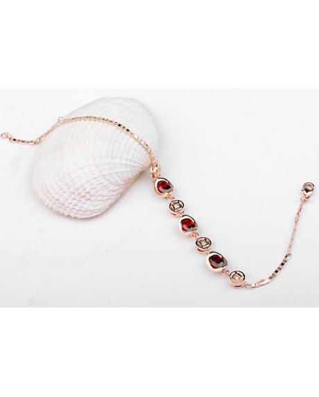 Bratara Little Arina cu cristale rosii placata cu aur si garantie 6 luni