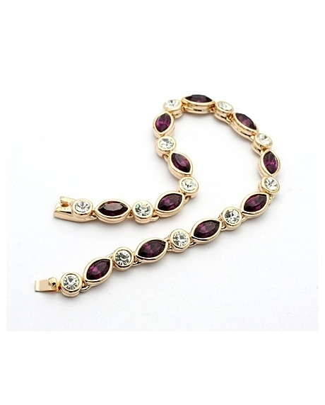 Bratara Princess dark purple cu cristale placata cu aur 18K
