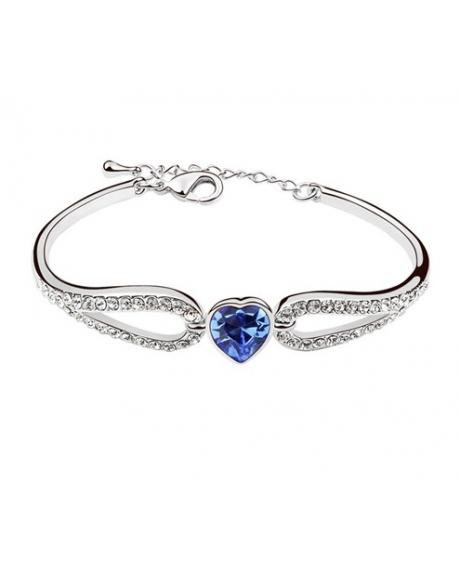 Bratara Regal Heart cu cristale blue capri, placata cu aur 18K si garantie 6 luni