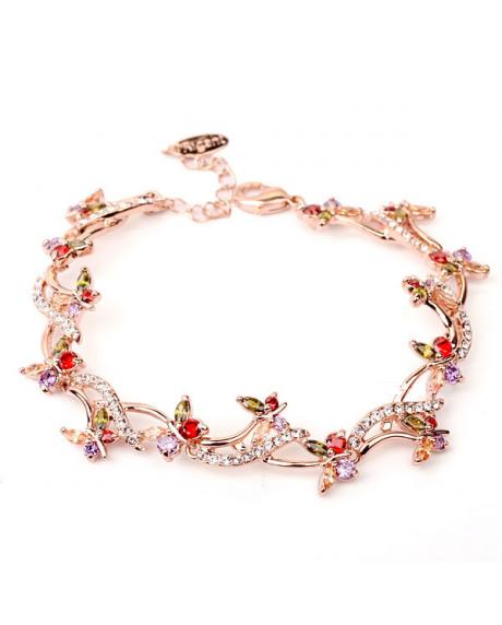 Bratara Splendid Butterfly cu cristale multicolore placata cu aur 18K si garantie