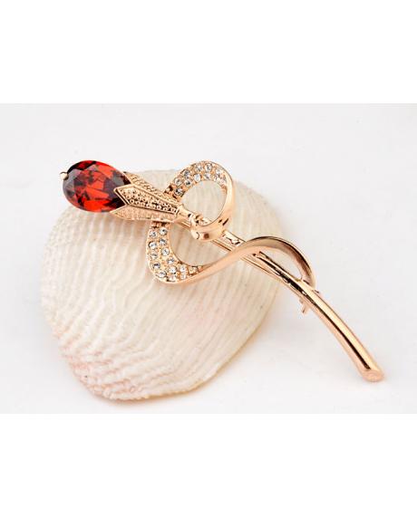 Brosa FLOWER red cu cristale Swarovski si placata cu aur 18K  garantie 6 luni