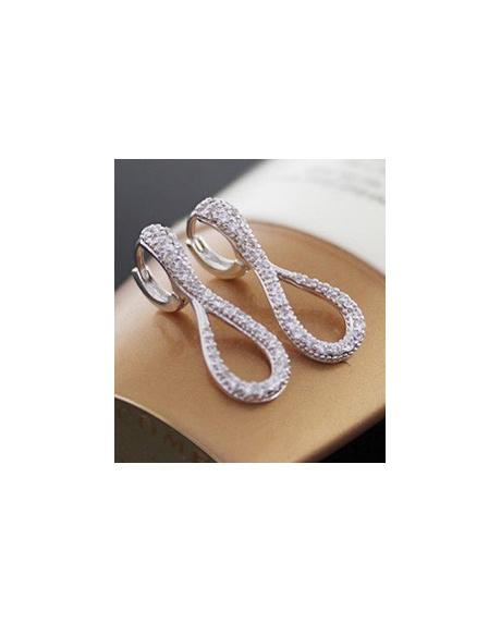 Cercei Amurg Allure White cu cristale, placati cu aur 18k, garantie produs 6 luni de zile