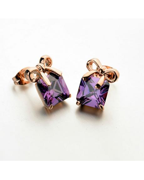 Cercei Crystal Beautifull cu cristale violet, placati cu aur 18k, garantie produs 6 luni de zile
