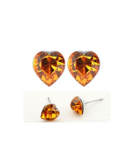 Cercei SENSIBLE HEART orange cu cristale Swarovski