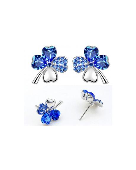 Cercei Sweet 4 Leaf Blue cu cristale Swarovski
