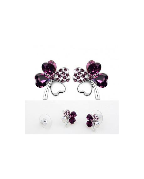 Cercei Sweet 4 Leaf purple cu cristale Swarovski