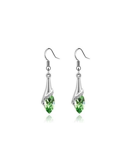 Cercei water drop green-peridot inchis cu cristale swarovski