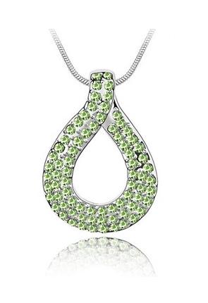 Colier cu cristale LOVE KNOT green-verde placat cu aur 18K, garantie 6 luni