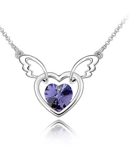 Colier Heart violet cu cristale Swarovski placat cu aur
