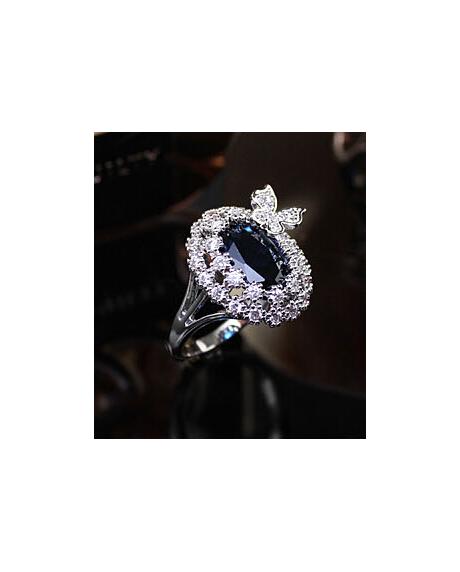 Inel Blue Butterfly diametru 17 cm cu cristale Swarovski placat cu aur 18k