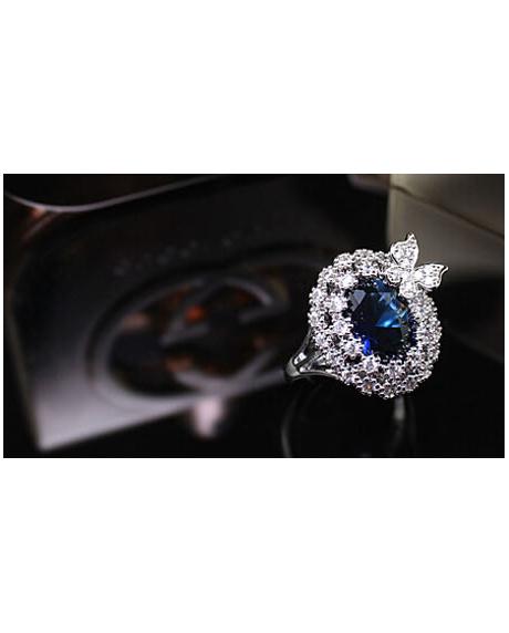 Inel Blue Butterfly diametru 16 cm cu cristale Swarovski placat cu aur 18k 1