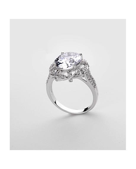 Inel KARINA White diametru 19 cm cu cristale Swarovski placat cu aur 18k