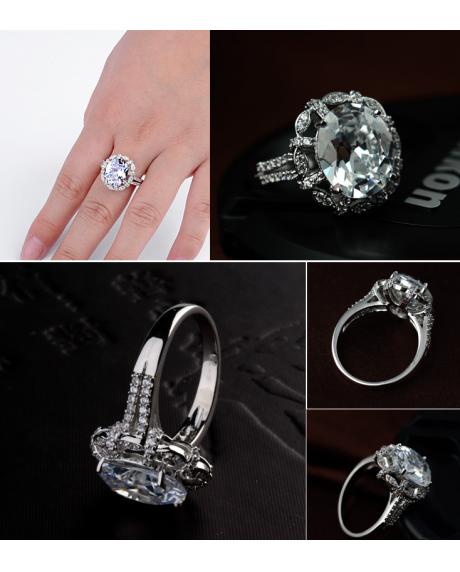 Inel KARINA White diametru 18 cm cu cristale Swarovski placat cu aur 18k
