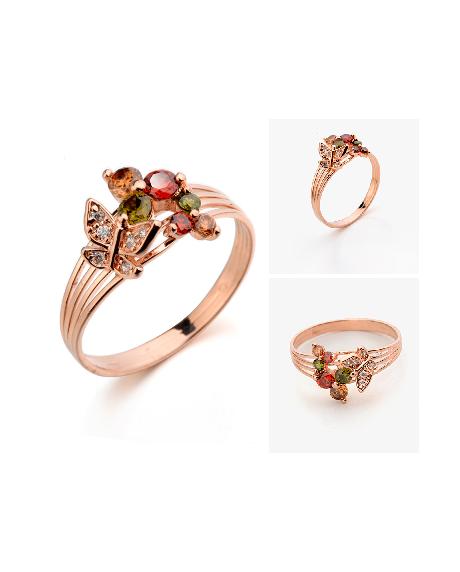 Inel Strong Colour multicolor diametru 18cm cu cristale Swarovski placat cu aur 18k