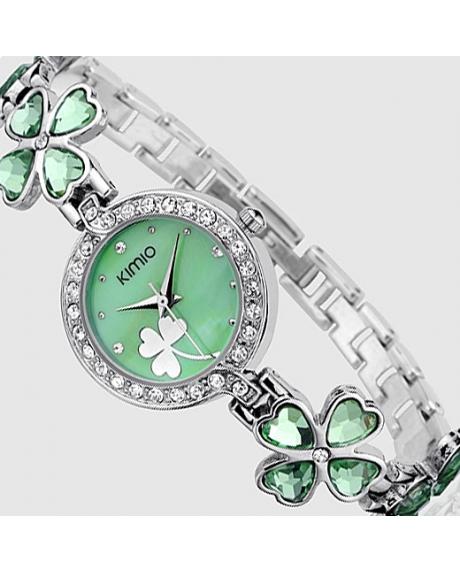 Ceas ORIGINAL KIMIO trifoi verde cu cristale zirconiu si elemente Swarovski