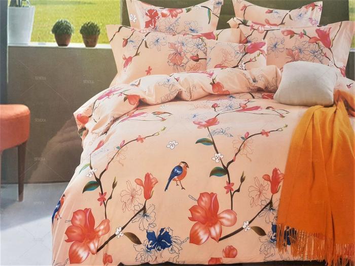 LENJERIE DE PAT 6 PIESE 2 persoane pat matrimonial din BUMBAC 3D cu motive florale, model 1020 - Sendia