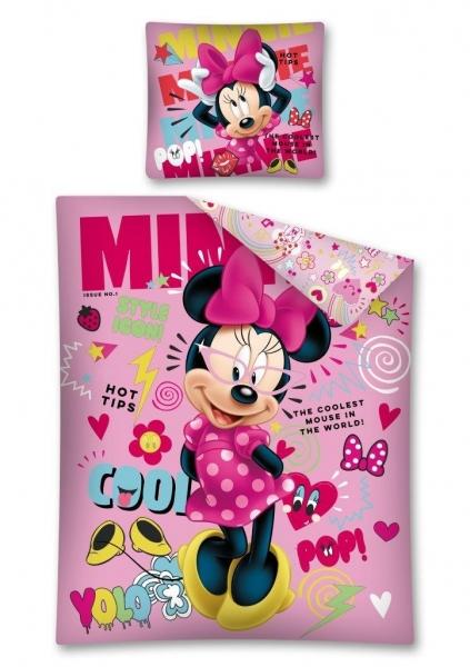 Lenjerie de pat licenta Minnie Mouse rose marime 160x200cm 1persoana