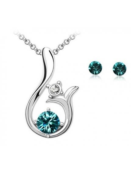 Set Glamour Dream turquoise cu cristale swarovski
