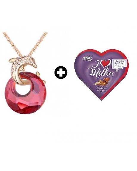 Colier Delfin Red cu cristale Swarovski + Cutie bomboane Milka