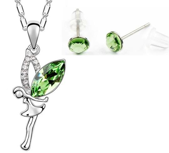 Set ANGEL SKY green cu cristale swarovski