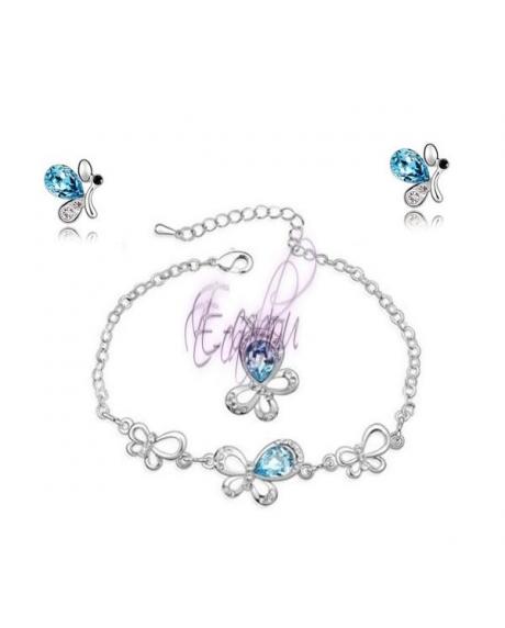 Set bijuterii Butterfly 3in1 (cristale swarovski blueink) 0