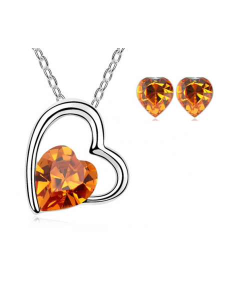 Set bijuterii IN LOVE orange-portocaliu cu elemente Swarovski placat cu aur 0